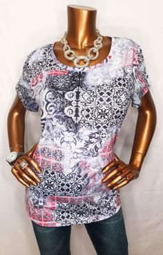 Zenergy By Chico's 2 M/L Top Blouse Stretchable Short Sleeve Multi Color | eBay