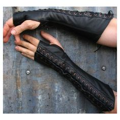 Long Distressed Black Leather Suede Steampunk Fingerless Gloves w... ❤ liked on Polyvore