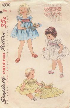 Vintage Simplicity Pattern for infant dresses, size 1/2. So sweet!