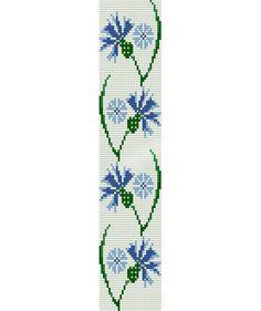 Loom stitch pattern -blue cornflower cuff bracelet, PDF file pattern ,Delica seed beads pattern, beadwork, DIY