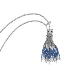 GEM SET, ONYX AND DIAMOND PENDENT NECKLACE, PANTHÈRE, CARTIER Estimate:   78,000 - 115,000 CHF  LOT SOLD. 329,000 CHF  (Hammer Price with Buyers Premium) The detachable pendant set with circular-cut and polished sapphire beads, pear-shaped emeralds, brilliant-cut and briolette diamonds