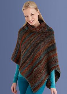 Crochet Cowl Neck Poncho-still lovin ponchos! lion yarns