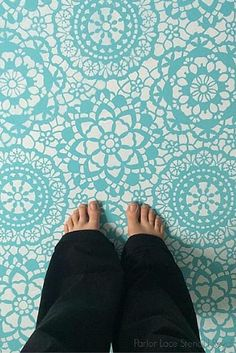 This stencilled floor is incredible! This painted turquoise lace floor is by @theadventureashley on instagram, stencil by Royal Design Studio Stencils - From the post -10 Stunning Floors That Will Knock Your Socks Off!