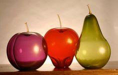Hand Blown Glass Fruit Trio  Small Summer by DesignRevolutionary,