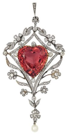 Belle Epoque Platinum, Gold, Pinkish Orange Tourmaline, Diamond and Pearl Pendant with Chain. Of diamond-set garland motif, centering one pinkish orange heart-shaped tourmaline approximately 17.50 cts., within a modified diamond-shaped frame set with rose-cut diamonds, suspending one pearl, circa 1905.