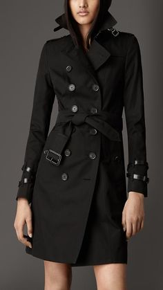 Burberry Long Leather Detail Gabardine Trench Coat