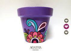 Resultado de imagen para yuki deco Painted Clay Pots, Painted Flower Pots, Painted Mugs, Hand Painted, Flower Pot People, Clay Pot People, Flower Pot Crafts, Clay Pot Crafts, Pots D'argile