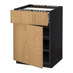 METOD Base cab f hob/drawer/shelves/door Black/ekestad oak IKEA Drawer Shelves, Cabinet Drawers, Filing Cabinet, Base Cabinets, Kitchen Cabinets, Ikea, Bodbyn, Affordable Furniture, Decoration