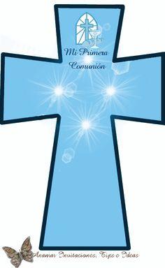 Cruz para Oración de Primer Comunión en color rosa y celeste
