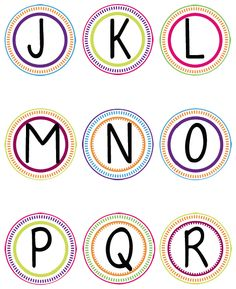 Free printable bulletin board letters just print what you need word wall printable circles letters j r to make a colorful word wall in my bulletin board spiritdancerdesigns Choice Image