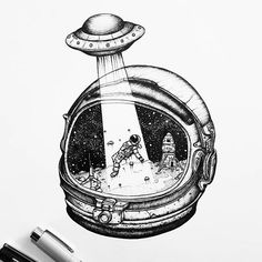 Black and white, Product design, Product, Font - Photo by Alien Drawings, Space Drawings, Pencil Art Drawings, Art Drawings Sketches, Cartoon Drawings, Cool Drawings, Astronaut Drawing, Astronaut Tattoo, Astronaut Helmet