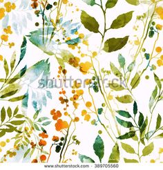 imprints herbs, flowers and leaves. abstract watercolor and digital image. hand drawn boho spring seamless pattern. mixed media artwork for textiles, fabrics, souvenirs, packaging and greeting cards.  - stock photo