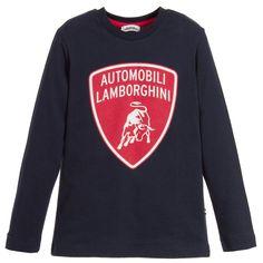 AUTOMOBILI LAMBORGHINI Boys Navy Blue Cotton Logo T-shirt Bull Logo 945645b9f1c