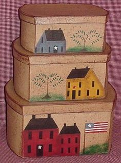 Distressed Tan Shaker Boxes with Colored Primitive Houses ~ Nesting Boxes Primitive Painting, Primitive Folk Art, Primitive Crafts, Country Primitive, Tole Decorative Paintings, Tole Painting, Painting On Wood, Arte Country, Pintura Country