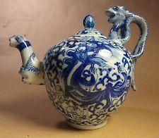 Unusual blue & white pitcher