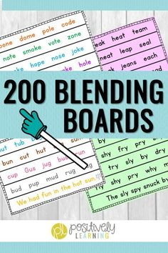 Use blending boards with the whole group, small group, or send home for extra fluency practice. 200 phonics pages provides practice for every day of the school year! Reading Intervention, Reading Skills, Guided Reading, Teaching Reading, Teaching Ideas, Learning Resources, Reading Tips, Creative Teaching, Fluency Practice