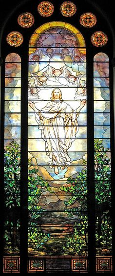 Tiffany stained glass window in St Luke's United Methodist Church in Dubuque, Iowa. The church has 95 stained glass windows and panels; of t...