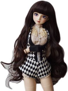 Amazon.com: 1/6 BJD Doll Wig with 6.3 Inch~6.70Inch Soft Synthetic Long Deep Dark Auburn Curly Wigs with Full Bangs for 1/6 BJD Doll SD Doll Ball Jointed Doll