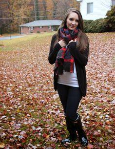 Plaid blanket scarf and black Hunter rain boots! Perfect for fall!