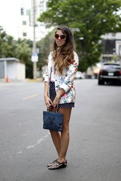 Alessandra    #fashion #streetstyle #prints #blazer #shorts #sunglasses #summer #style