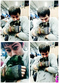 """That time this puppy cuddled a smaller puppy. 