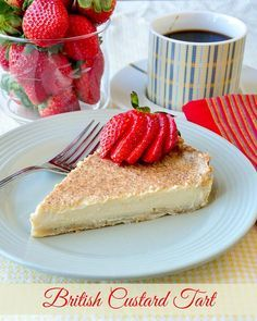 British Custard Tart - a.a Egg Custard Pie. A perfectly baked custard tart with a velvety smooth filling and a great crust is a delicious British tradition. Rock Recipes, Sweet Recipes, Cake Recipes, Dessert Recipes, Dessert Bars, Dessert Ideas, British Baking Show Recipes, British Desserts, Scottish Desserts