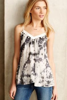Embellished Tie-Dye Tank by Twelfth Street by Cynthia Vincent Black Motif from Anthropologie