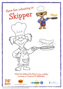 Your child can have fun colouring this Pip Ahoy! picture of Skipper flipping pancakes.