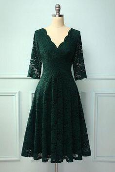 3/4 Sleeves Formal Dress with Lace, Green V Neck Homecoming Dress Party Dresses With Sleeves, Lace Dress With Sleeves, Lovely Dresses, Look Fashion, Homecoming Dresses, Wedding Dresses, Color Box, Clothes, Outfits