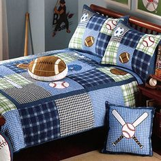 Get off now on XQL Cotton Boys Sport Football 2 Piece Set Quilted Bedspread - Twin Size Football Quilt, Baseball Quilt, Sport Football, Twin Quilt, Quilt Bedding, Sports Quilts, Beginner Quilt Patterns, Plaid Quilt, Boy Quilts