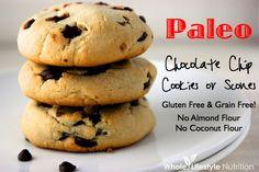 Paleo Chocolate Chip Cookies and Scones | WholeLifestyleNutrition.com #glutenfree #paleo #vegetarian