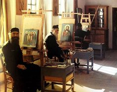Icon painting monks in a Greek monastery Writing Icon, Greek Icons, Christian Devotions, Orthodox Christianity, Orthodox Icons, Religious Art, Creative Art, Painting & Drawing, Illustration Art