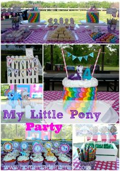 My Little Pony is all the rage and we have some great ideas for your next birthday party. Easy  diy decorations, recipes and party favors. Kids will go crazy for the rainbow cake and there are a few simple crafts you can do to make your party special.