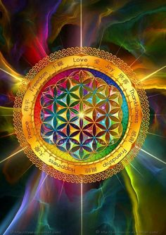 Levensbloem mandala Flower of Life Mandala Art, Mandala Meditation, Sacred Geometry Art, Sacred Art, Psychedelic Art, Visionary Art, Flower Of Life, Art Pages, Fractal Art