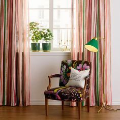 In Josef Frank designed Armchair with inspiration from the dainty armchairs of the - Armchair 969 Seat height Seat height 47 cm, Mahogany, Josef Frank Lined Curtains, Hanging Curtains, Josef Frank, Curtain Length, Interior Design Studio, Furniture Styles, Floor Lamp, Decor Styles, The Help