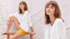 Tricot gratuit : le pull blanc coton jersey : Femme Actuelle Le MAG Pulls, Bell Sleeve Top, Couture, Tops, Dresses, Actus, Women, Cardigans, Articles