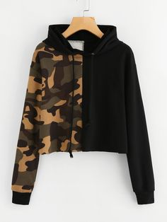 Shop Contrast Camo Raw Hem Crop Hoodie online. SheIn offers Contrast Camo Raw Hem Crop Hoodie & more to fit your fashionable needs.