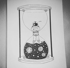 #illustration #iblackwork #blackworknow #blackandwhite #dot #dotwork #ink #galaxy #astronaut #sandclock #clock