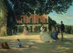 Jean Frederic Bazille- Family Reunion on the Terrace At Meric 1867
