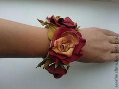 Браслет из кожи Роза с желтыми лепестками - браслет с цветами,цветы из кожи