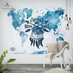 Stay wild moon child world map wall Tapestry, Watercolor dreamcatcher and arrows wall hanging, Grunge bohemian wall tapestries, boho wall decor