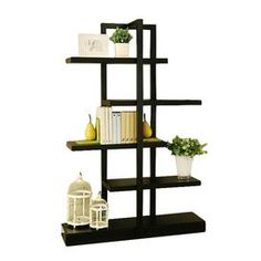 """Contemporary bookcase in cappuccino with five off-set shelves.      Product: Bookcase    Construction Material: MDF and wood    Color: Cappuccino    Features:    Modern design  Open back with five shelves  Thick bottom support panel     Dimensions: 71"""" H x 47"""" W x 13"""" D    Note: Assembly required"""