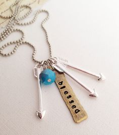 Blessed Mama Psalm 12735 Arrow Necklace by StonesofRemembrance, $23.00