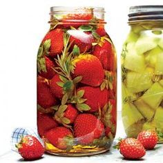 Pickled Strawberries | MyRecipes.com. Brine: 1/2 c white balsamic vinegar, 1/4 c sugr, 2 t kosher salt, 1 c water-boil together to disslove sugar/salt. Cool completely(1 hr), place 1 lb strawberries, 2 fresh rosemary sprigs and brine in 24 oz jar, seal, chill 1-12 hrs(best 8-12 hrs). Will keep week. Pickled peaches- 1 lb sliced fresh peaches, 2 mint sprigs in brine