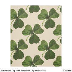 St Patrick's Day Irish Shamrock Pattern Fleece Blanket