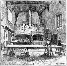 /\ /\ . Durham Castle kitchen 1499 . 19thC engraving