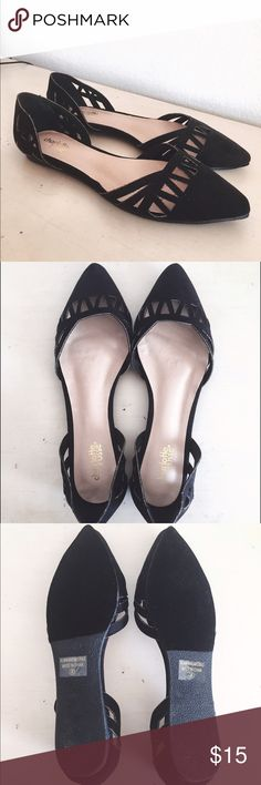 New Black Laser Cut Pointed Toe Flats New black pointed toe flats with a pretty cutout design in the front and on back heel. Never worn, I only tried them on but they ended up being too big  Charlotte Russe Shoes Flats & Loafers