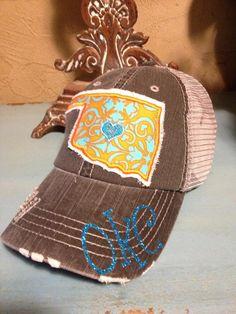 OKC Oklahoma City Thunder State Baseball Style Bling Ladies Womens Trucker Hat by chasingelly on Etsy https://www.etsy.com/listing/161901859/okc-oklahoma-city-thunder-state-baseball