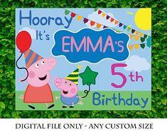 Peppa Pig Happy Birthday, Pig Birthday, Paw Patrol Birthday, Happy Birthday Banners, Butterfly Birthday, Third Birthday, Peppa Pig Party Supplies, Paw Patrol Party Supplies, Banner Backdrop