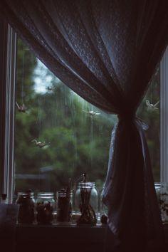 origami and rain